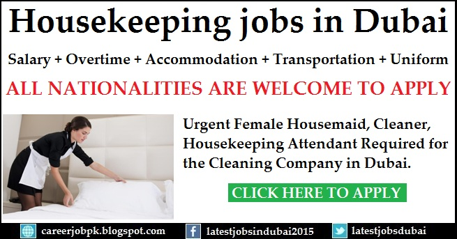 Housekeeping jobs in Dubai for Cleaning Company