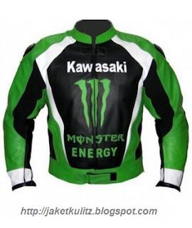 Gambar Jaket Kulit Kawasaki Monster Energy Warna Hijau