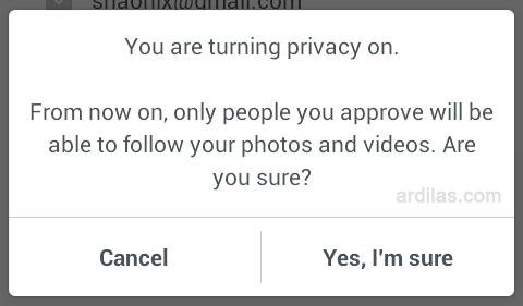 Peringatan. Yes, I'm sure - Cara Memprotect / Memprivasi Foto Postingan di Instagram