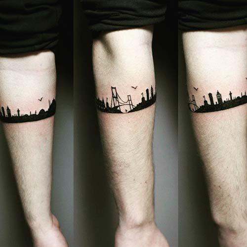 istanbul silüeti dövmesi city armband tattoo
