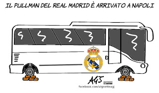 Napoli, Real Madrid, champions league, calcio, sport, umorismo, vignetta