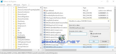 Augmenter l'espace de la MFT ( table de fichier maître )   NtfsMftZoneReservation