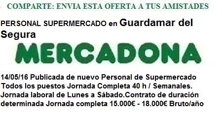 Oferta de empleo Mercadona, Guardamar del Segura, Alicante