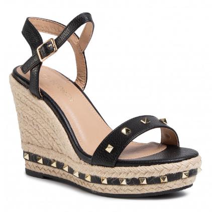 Sandale cu platforma inalta de vara negre cu insertii aurii ieftine moderne