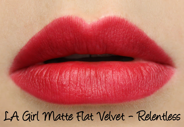 LA Girl Matte Flat Velvet Lipstick - Relentless Swatches & Review