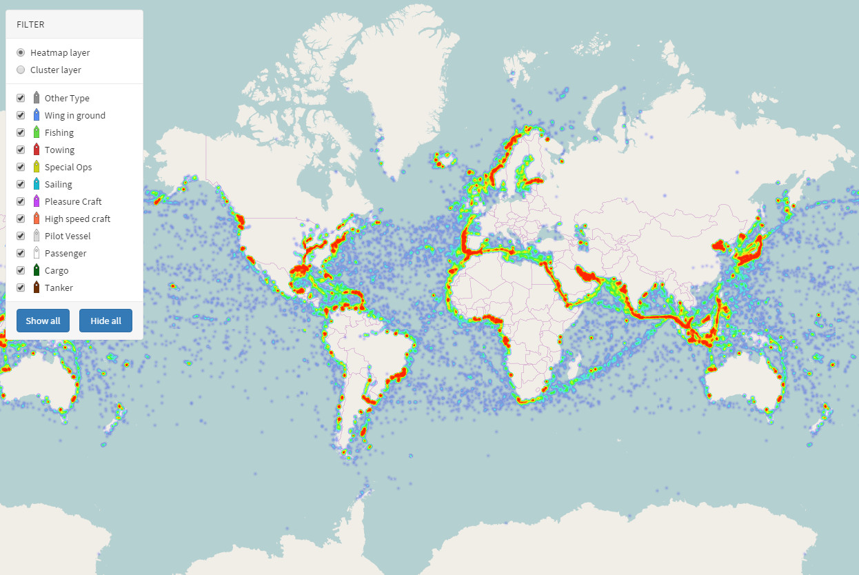 All the ships in the World ocean