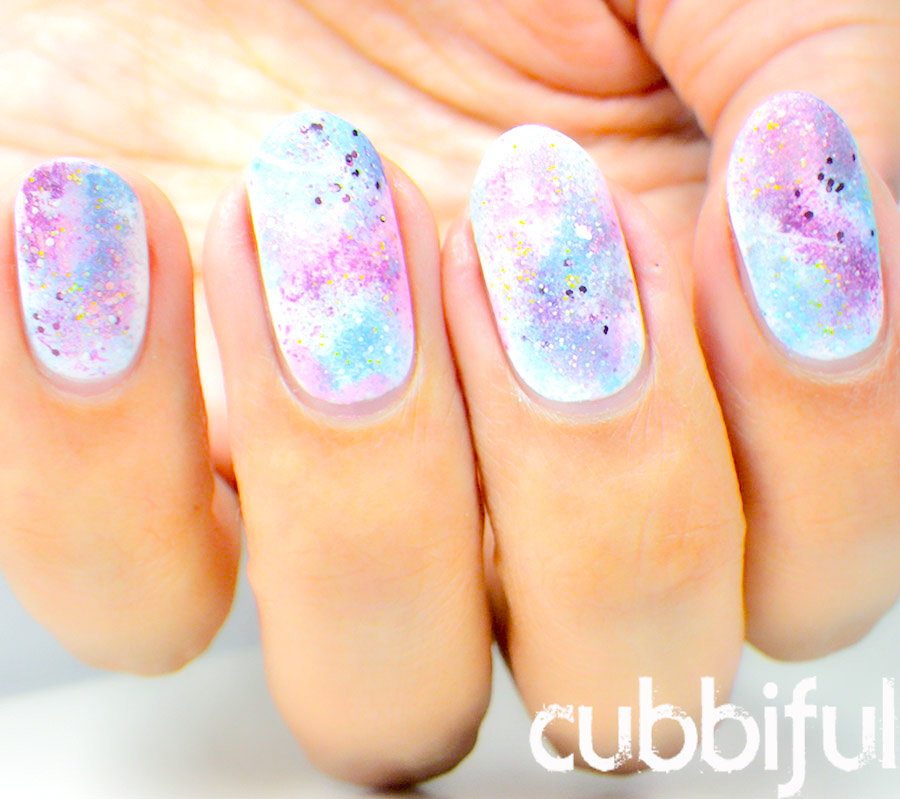cubbiful: 31DC2015 Day 23 - White Base - Galaxy Nails #WNAC2015