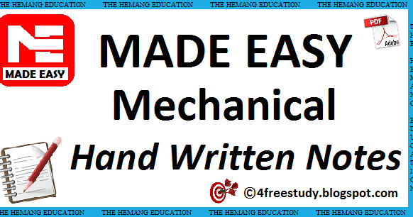 Gate Made Easy Mechanical Engineering Hand Written Notes
