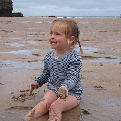 On the beach at Mawgan Porth