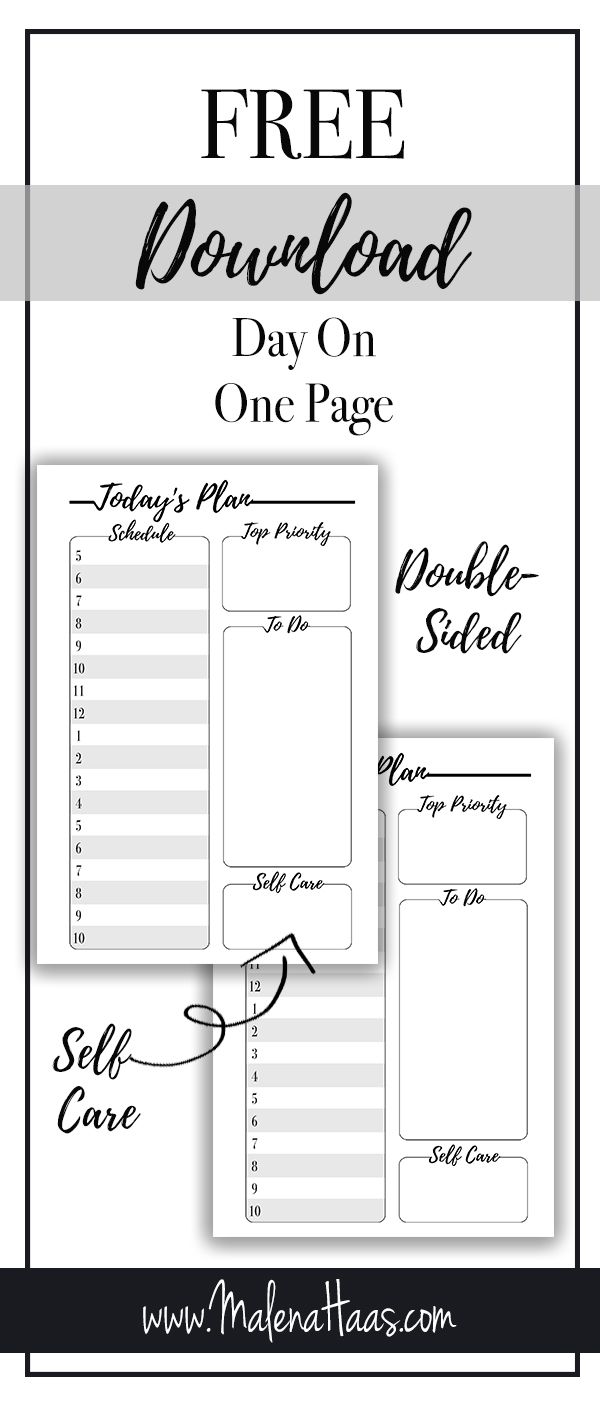 Free Day On One Page Download Minimal Grey And White Printablehttp://www.malenahaas.com/2018/03/freebie-friday-day-on-one-page.html