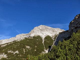 Gleich wird der markierte Weg verlassen; im Hintergrund erkennt man die Felsrinne, durch die man zum Südgrat gelangt
