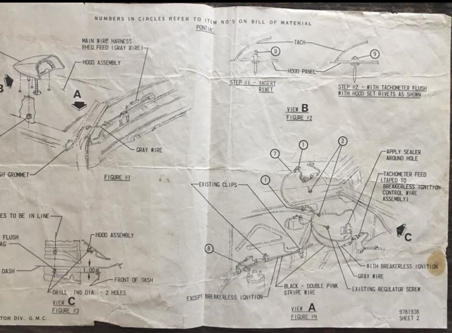 1967 Pontiac Gto Hood Tach Diagram And Positioning Template