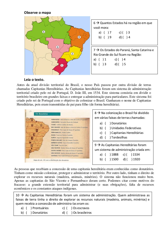 Atividades de Geografia 5o Ano para Imprimir