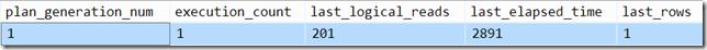 Plan cache query output
