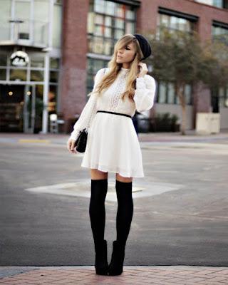 Vestidos con MEDIAS negras casuales tumblr que debes probar