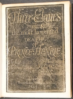 "A title page for ""Three Elegies,"" showing light text on a dark background."