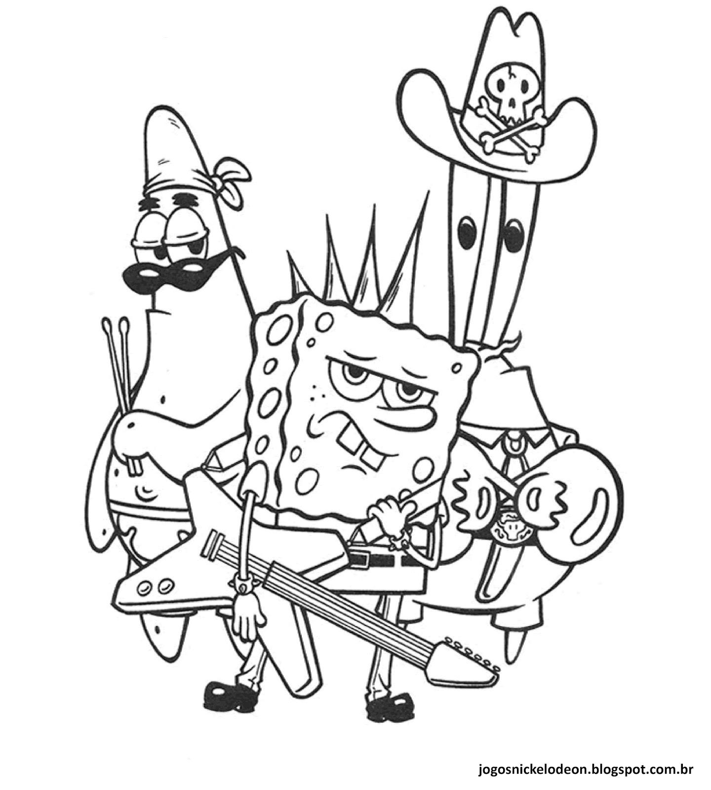 Jogos Da Nickelodeon: Desenhos Para Colorir Do Bob Esponja
