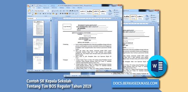 Contoh SK Kepala Sekolah Tentang Tim BOS Reguler Tahun 2019