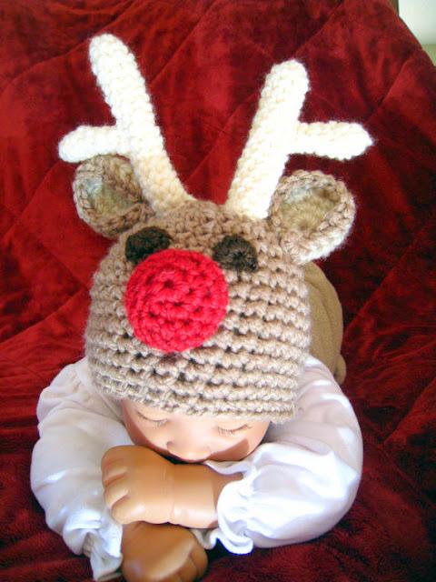 Christmas baby reindeer hat Crochet pattern