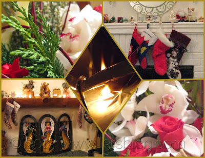 Christmas collage flowers candle fireplace