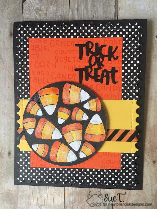Trick or Treat by Sue features Candy Corn, Framework, and Halloween Trio by Newton's Nook Designs; #newtonsnook