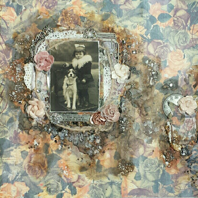 """""""The Journey"""" mixed media scrapbook layout with Scraps of Elegance kit"""