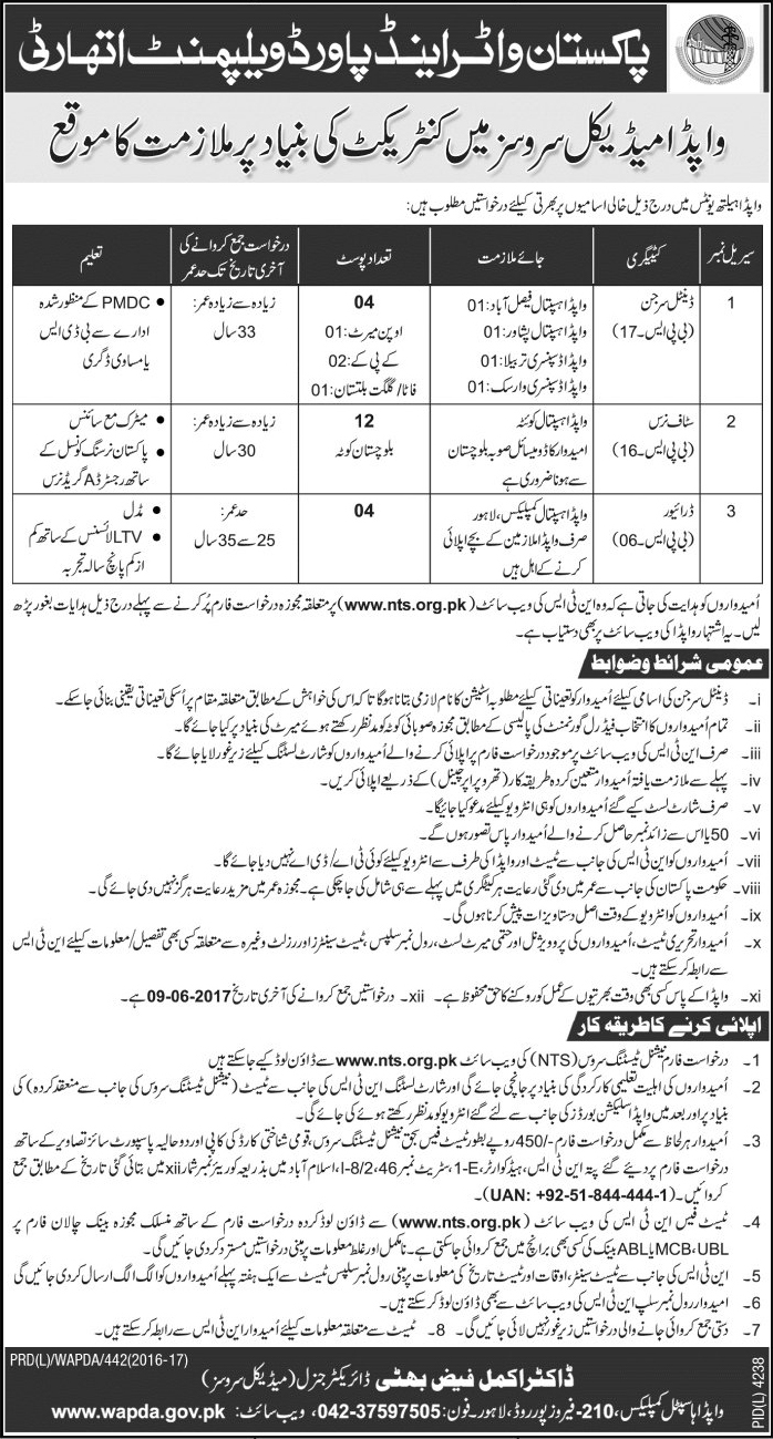 Medical Jobs In WAPDA Health Unit Islamabad 24 May 2017