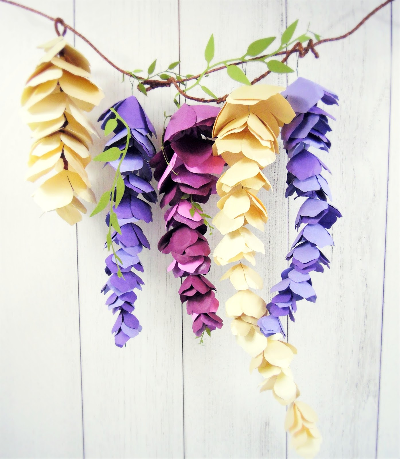 Hanging Paper Wisteria Tutorial Templates Catching Colorlfies