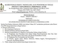 Lowongan Dosen Seni Institut Seni Budaya Indonesia Aceh