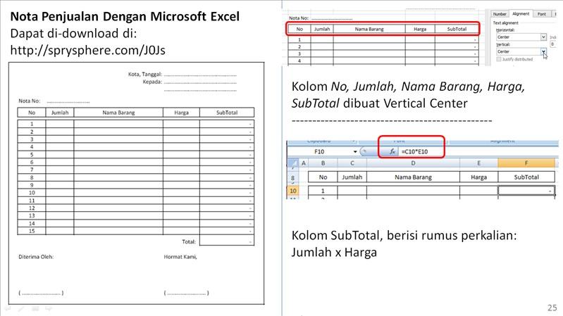 Niguru Com Nota Penjualan Dengan Microsoft Excel