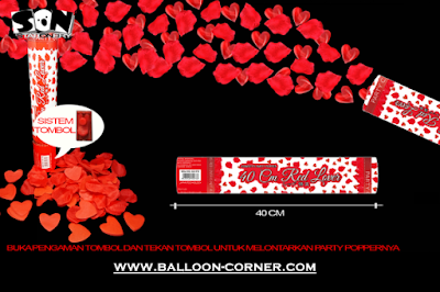 Party Popper Red Lover / Confetti Red Lover Ukuran 40 Cm (TOMBOL / PENCET)