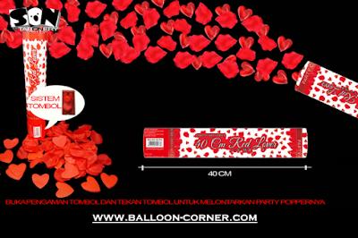 Party Popper Red Lover / Confetti Red Lover Ukuran 40 Cm (TOMBOL / PENCET)