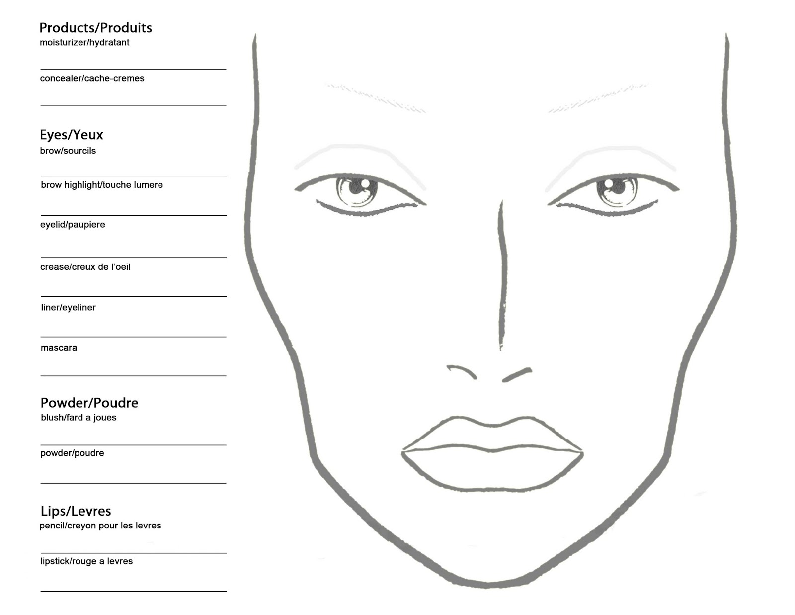 Free Blank Mac Makeup Chart
