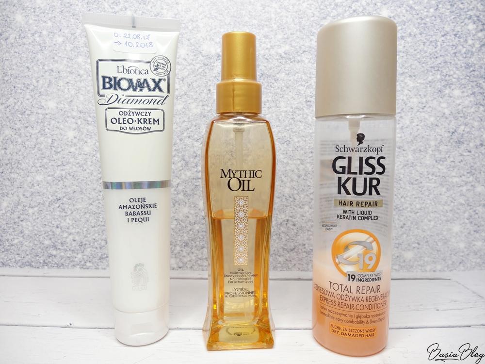 Biovas Oleokrem Diamond, L'Oreal Mythic Oil, Gliss Kur odżywka dwufazowa w sprayu