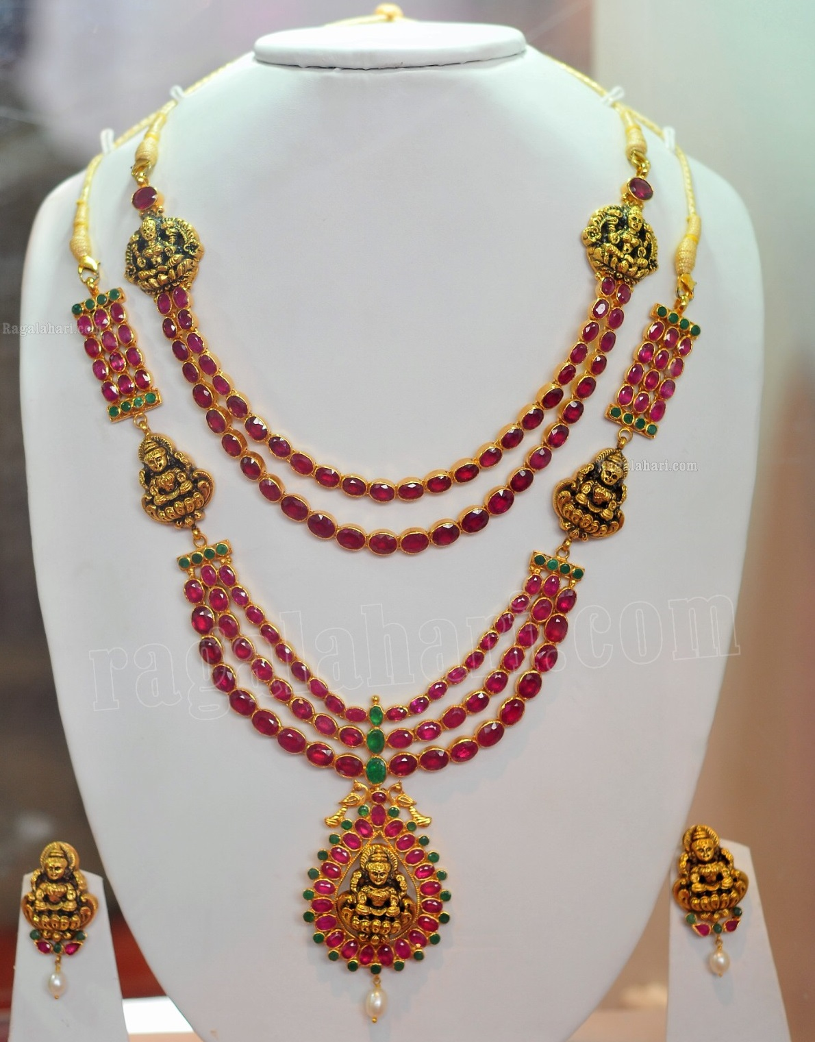 set tone emerald pearls earring goldtone ruby faux gold antique index indian necklace
