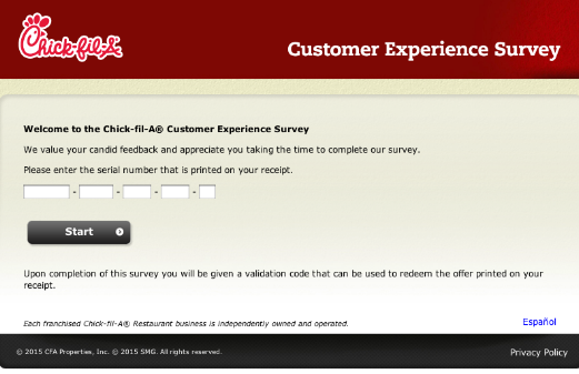 Chick-fil-A Survey Requirements