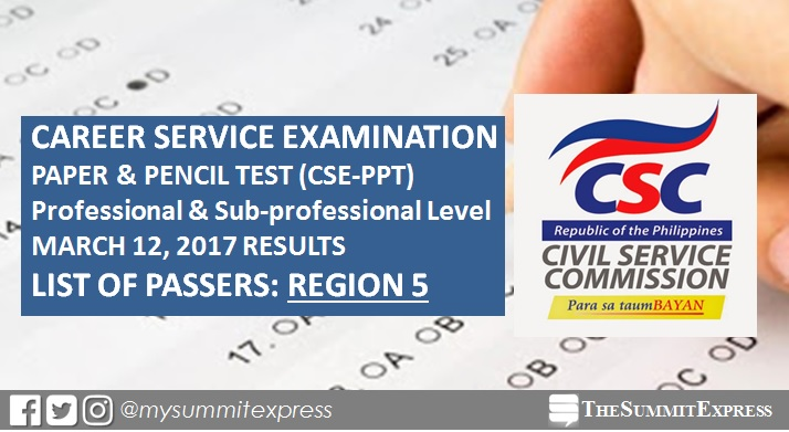 Region 5 Passers: October 2016 Civil service exam results CSE-PPT out