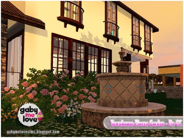 Townhouse Flores Garden |NO CC| ~ Lote Residencial, Sims 3. Jardín.