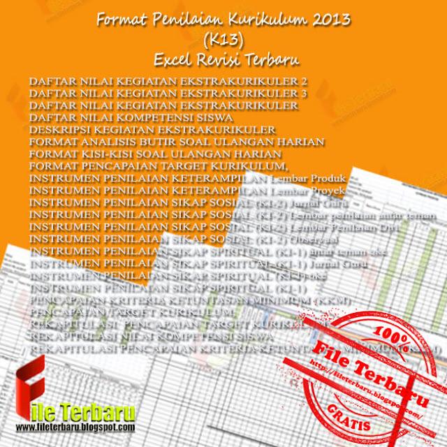 Contoh Format Penilaian Kurikulum 2013 (K13) Excel Revisi Terbaru