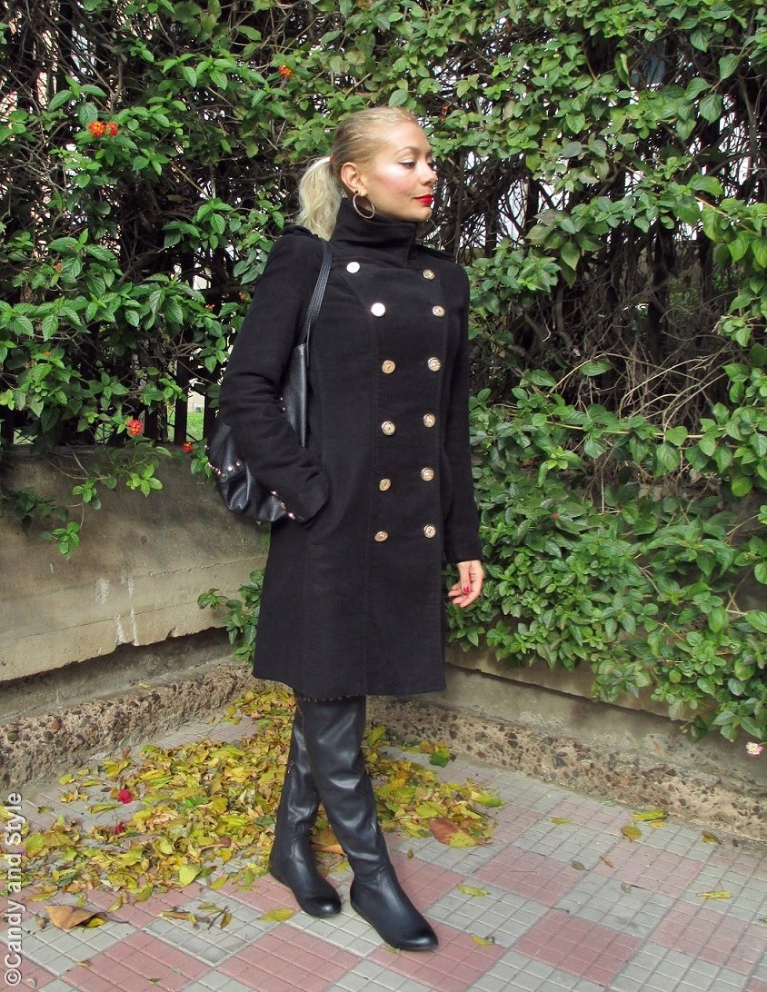 MilitaryCoat+TurtleneckSweater+LeopardLeggings+Overknees+ToteBag+HighPonytail+RedLips - Lilli Candy and Style Fashion Blog