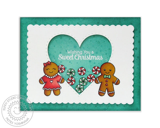 Sunny Studio Stamps: Jolly Gingerbread Boy & Girl Heart Shaker Christmas Card by Mendi Yoshikawa