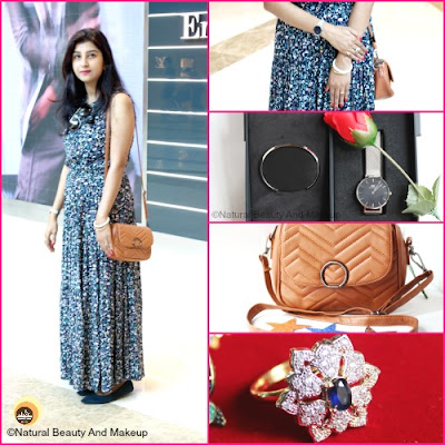 Anamika Chattopadhyaya wearing Daniel Wellington Classic Petite Silver Sterling women watch, Brown tan sling bag & navy pumps. NBAM Blog