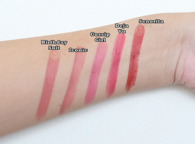 swatch photo of Pink Sugar Velvet Matte Lipsticks in shades Birthday Suit, Iconic, Gossip Girl, Deja Vu and Senorita Review
