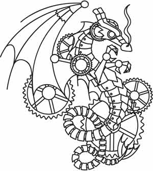 Coloring Page World Steampunk Wyvern