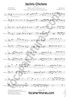 Violonchelo y Fagot Partitura a dos voces de Jacinto Chiclana Sheet Music for Cello and Bassoon Music Scores