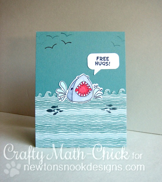 Shark Card by Crafty Math Chick | Shark Bites Stamp set and Die set by Newton's Nook Designs #newtonsnook #sharkweek