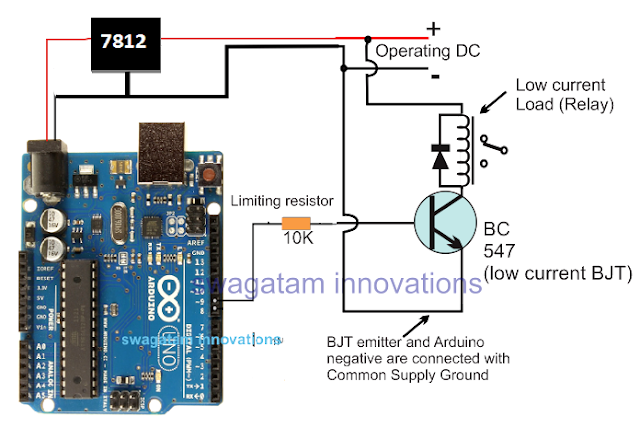 interfacing or connecting Arduino with a transistor relay driver