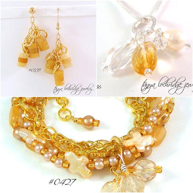 Tanya Lochridge Jewelry Pearl, Cross, Citrine, Moonstone, Honey Jade, Crystal Quartz Necklace, Earrings & Bracelet