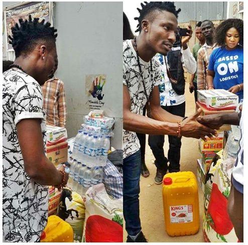 #BBNaija: Big Brother Naija Winner, 'Efe' Donates Food Items to the Poor (Photos) [Oh Kindness!]