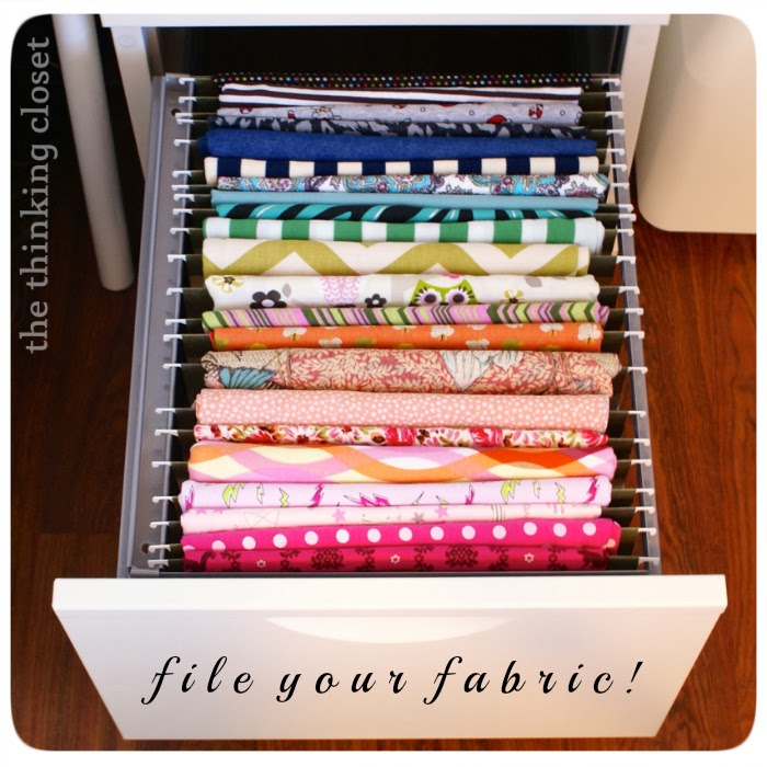 File and organize fabric in file drawers.